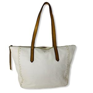 Fossil Off White and Brown Leather Satchel Bag